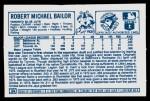 1978 Kellogg's #39  Bob Bailor  Back Thumbnail