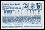 1978 Kellogg's #14  Paul Dade  Back Thumbnail