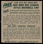 1954 Red Man #11 AL x Jimmy Piersall  Back Thumbnail