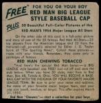 1954 Red Man #15 NL x Pee Wee Reese  Back Thumbnail