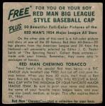 1954 Red Man #5 AL x Sherm Lollar  Back Thumbnail