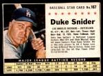 1961 Post Cereal #167 BOX Duke Snider   Front Thumbnail