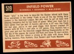 1959 Topps #519   -  Pete Runnels / Dick Gernert / Frank Malzone Infield Power Back Thumbnail