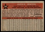 1958 Topps #489   -  Jackie Jensen All-Star Back Thumbnail