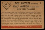 1953 Bowman #93  Phil Rizzuto / Billy Martin  Back Thumbnail