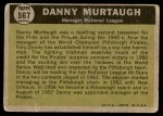 1961 Topps #567   -  Danny Murtaugh All-Star Back Thumbnail