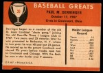 1961 Fleer #20  Paul Derringer  Back Thumbnail
