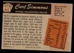 1955 Bowman #64  Curt Simmons  Back Thumbnail
