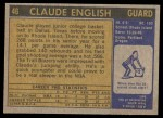 1971 Topps #46  Claude English   Back Thumbnail