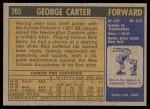 1971 Topps #205  George Carter  Back Thumbnail
