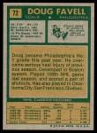1971 Topps #72  Doug Favell  Back Thumbnail