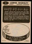 1965 Topps #2  Gump Worsley  Back Thumbnail