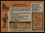 1975 Topps #74  Tom Bladon   Back Thumbnail
