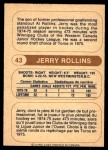 1976 O-Pee-Chee WHA #43  Jerry Rollins  Back Thumbnail