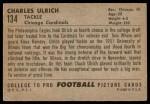 1952 Bowman Large #134  Chuck Ulrich  Back Thumbnail