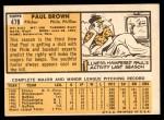 1963 Topps #478  Paul Brown  Back Thumbnail
