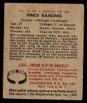 1948 Bowman #18  Vince Banonis  Back Thumbnail