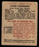 1948 Bowman #20  Clyde Goodnight  Back Thumbnail