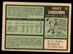 1971 O-Pee-Chee #13  Gary Sabourin  Back Thumbnail