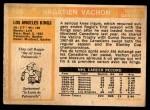1972 O-Pee-Chee #100  Rogatien Vachon  Back Thumbnail