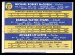1970 Topps #621   -  Darrell Evans / Mike McQueen / Rick Kester Braves Rookies Back Thumbnail
