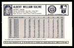 1973 Kellogg's #52  Al Kaline  Back Thumbnail
