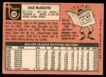 1969 Topps #305  Dick McAuliffe  Back Thumbnail