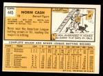 1963 Topps #445  Norm Cash  Back Thumbnail