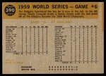 1960 Topps #390   1959 World Series - Game #6 - Scrambling After Ball Back Thumbnail