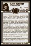 1971 Kellogg's #47  Claude Humphrey  Back Thumbnail