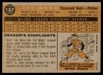1960 Topps #187  Jay Hook  Back Thumbnail