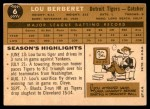 1960 Topps #6  Lou Berberet  Back Thumbnail