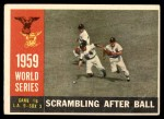 1960 Topps #390   1959 World Series - Game #6 - Scrambling After Ball Front Thumbnail