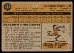 1960 Topps #155  Charlie Neal  Back Thumbnail