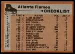 1975 Topps #85   Flames Team Checklist Back Thumbnail