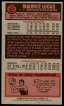 1976 Topps #107  Maurice Lucas  Back Thumbnail