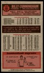 1976 Topps #93  Billy Cunningham  Back Thumbnail