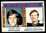 1974 Topps #2   -  Bobby Orr / Dennis Hextall Assists Leaders Front Thumbnail