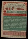 1973 Topps #189  Tom Owens  Back Thumbnail