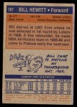 1972 Topps #107  Bill Hewitt   Back Thumbnail