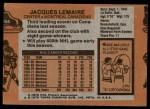 1975 Topps #258  Jacques Lemaire   Back Thumbnail