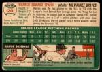 1954 Topps #20 WHT Warren Spahn  Back Thumbnail