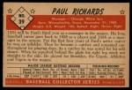 1953 Bowman #39  Paul Richards  Back Thumbnail