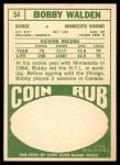 1968 Topps #54  Bobby Walden  Back Thumbnail