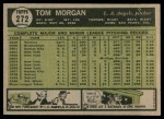 1961 Topps #272  Tom Morgan  Back Thumbnail