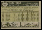 1961 Topps #382  Frank Thomas  Back Thumbnail