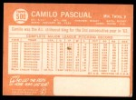 1964 Topps #500  Camilo Pascual  Back Thumbnail