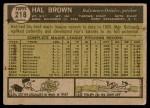 1961 Topps #218  Hal Brown  Back Thumbnail