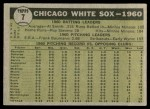 1961 Topps #7 YEL  White Sox Team Back Thumbnail
