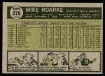 1961 Topps #376  Mike Roarke  Back Thumbnail